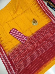 Mango yellow handloom pure ikkat cotton sarees