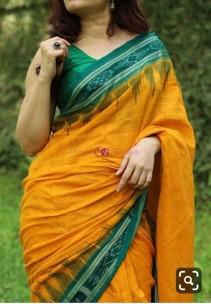 Mango yellow and dark green handloom ikkat cotton sarees