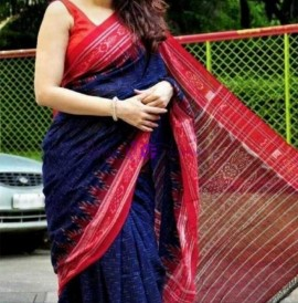 Navy blue and pink handloom ikkat cotton sarees