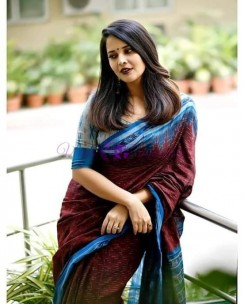 Maroon red and light blue handloom ikkat cotton sarees