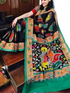 Black and green pen kalamkari chenoori sarees