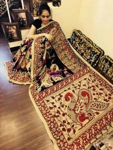 Black and cream chenoori silk sarees