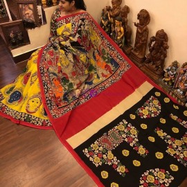 Yellow and red with black chenoori silk sarees