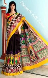 Black and yellow pure chenoori silk sarees