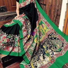 Black and green pen kalamkari chenoori silk sarees