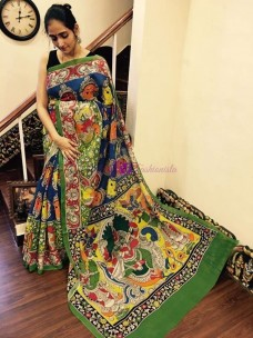 Blue and green pen kalamkari chenoori silk sarees