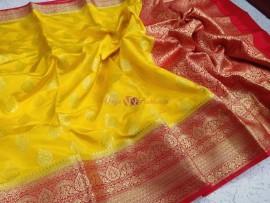 Yellow banarasi semi pure katan by satin kariyal weaved sarees