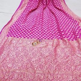 Dark pink pure handloom banarasi Georgette sarees
