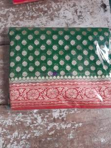 Dark green pure handloom banarasi Georgette sarees