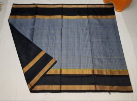 Grey and black uppada Mahanathi checks sarees