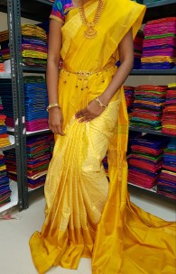 Yellow uppada mahanathi checks sarees