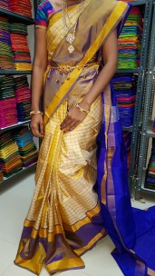 Light yellow and dark blue uppada Mahanathi checks sarees