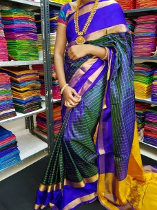 Navy blue uppada Mahanathi checks saree