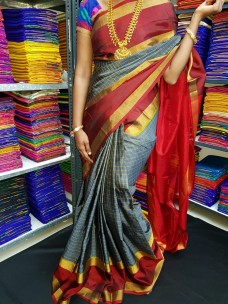 Grey and maroon red uppada Mahanathi checks sarees