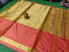Gold and light red pure cotton tissue sarees
