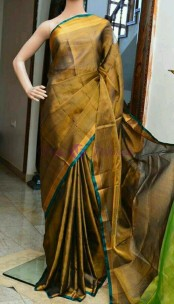 Dark gold with blue pure cotton tissue sarees