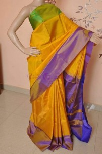 Gold with green and purple pure uppada tissue cotton sarees