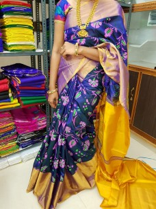 Navy blue and yellow uppada silk printed sarees