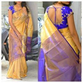 Cream and blue uppada tissue cotton sarees