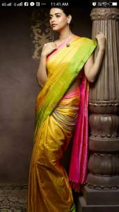 Yellow and pink uppada tissue silk sarees