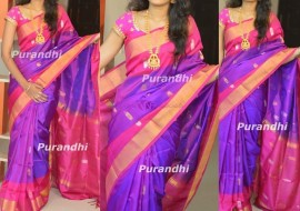 Purple and pink uppada sarees with butti work