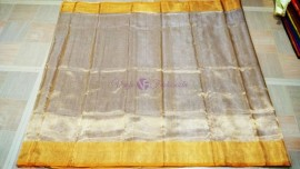 Silver uppada tissue with gold border