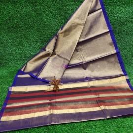 Dark blue uppada tissue cotton sarees