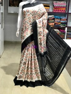 Cream and black pochampally handloom ikat cotton sarees