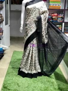 Grey with black pochampally ikkat cotton sarees