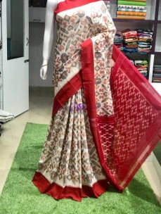 Cream and red pochampally ikkat Cotton sarees