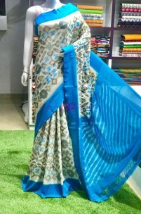 Cream and light blue pochampally handloom ikat cotton sarees
