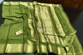 Olive green pure crepe sarees