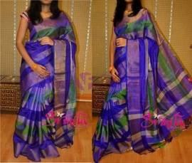Dark blue with green uppada tissue sarees