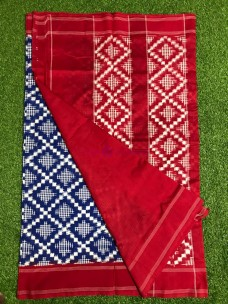 Navy blue and red telia runali double ikkat cotton sarees