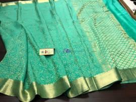 Aqua pure crepe sarees