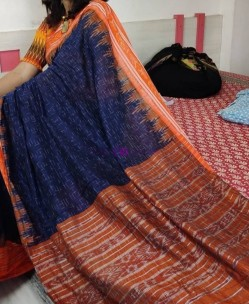 Navy blue and orange handloom ikkat cotton sarees