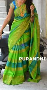 Green and light blue uppada tissue sarees