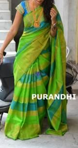 Green and light blue uppada tissue sarees