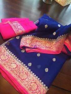 Dark blue with pink pure banarasi chiffon sarees