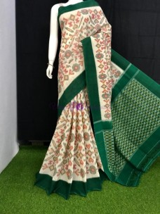 Cream and dark green pochampally handloom ikat cotton sarees
