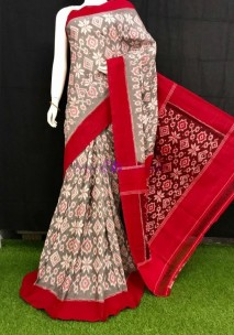 Grey and red Pochampally handloom Ikkat cotton sarees