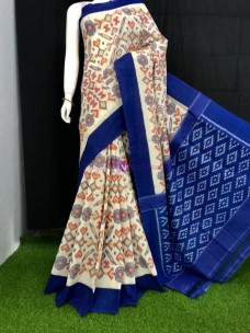 Cream and dark blue pochampally handloom ikat cotton sarees