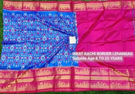 Blue and dark pink ikkat kanchi border lehenga