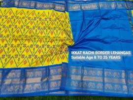 Yellow and sky blue ikkat kanchi border lehenga
