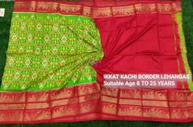 Green ikkat kanchi border lehenga