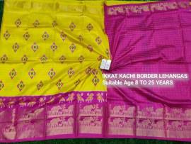 Yellow and dark pink Ikkat kanchi border lehenga