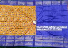 Mustard and blue ikkat kanchi border lehenga