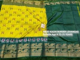 Lemon yellow and bottle green pochampally ikkat kanchi border lehenga