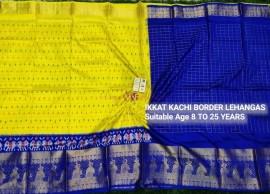 Lemon yellow and Royal Blue ikkat kanchi border lehenga