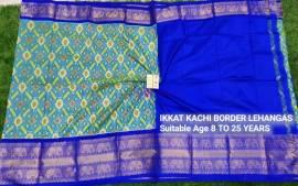 Rama green and dark blue ikkat kanchi border lehenga